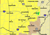 The counties in yellow are under a tornado watch as of 2:30 p.m. Thursday in this graphic from the National Weather Service.
