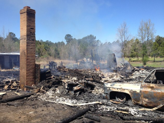 fire-smolders-in-the-remains-of-a-dallas-county-home-off-arkansas-7-just-north-of-sparkman-on-friday-afternoon-two-children-died-in-the-early-morning-fire-which-authorities-say-was-caused-by-candles-that-were-lit-after-the-home-lost-power-in-thursday-nights-storms