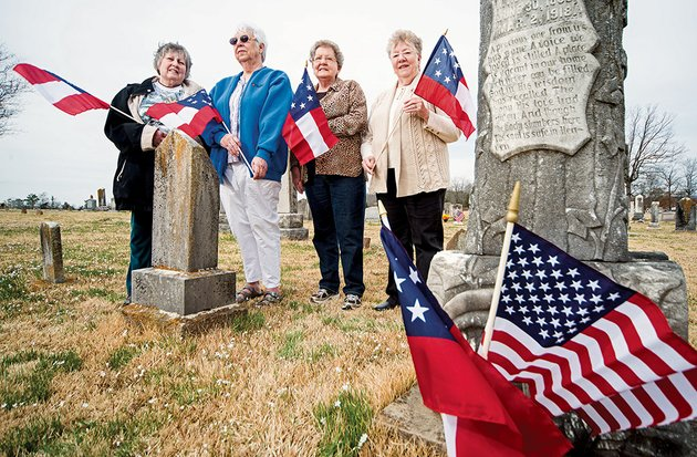 diane-hall-from-left-alice-george-carolyn-johnson-and-dorothy-ball-are-among-the-members-of-the-united-daughters-of-the-confederacy-chapter-in-cleburne-county-who-marked-the-graves-of-civil-war-veterans-with-flags-in-honor-of-confederate-memorial-day-which-is-april-26