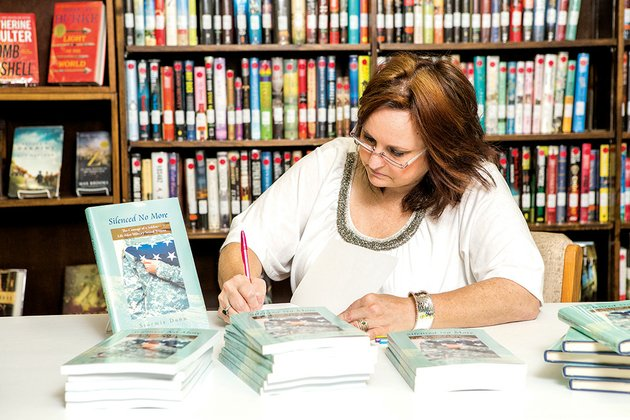 melissa-davis-signs-copies-of-her-book-silenced-no-more-the-courage-of-a-soldier-life-after-military-sexual-trauma-on-march-12-at-the-fairfield-bay-library