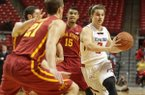 Texas Tech's Dusty Hannahs drives against Iowa State during their NCAA college basketball game in Lubbock, Texas, Saturday, Jan, 4, 2014. (AP Photo/Lubbock Avalanche-Journal, Zach Long)