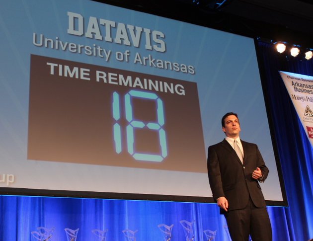 university-of-arkansas-graduate-student-mike-finan-presents-for-the-datavis-team-wednesday-at-the-donald-w-reynolds-governors-cup-in-little-rock