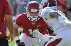 Arkansas tight end A.J. Derby picks up a block as the hogs run drills during the Razorbacks practice Thursday afternoon in Fayetteville.