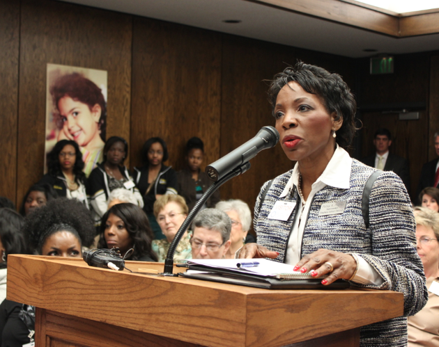 stephens-school-district-superintendent-patsy-hughey-addresses-the-state-board-of-education-while-students-from-the-district-look-on-thursday-the-board-voted-to-consolidate-the-district-into-three-surrounding-school-districts