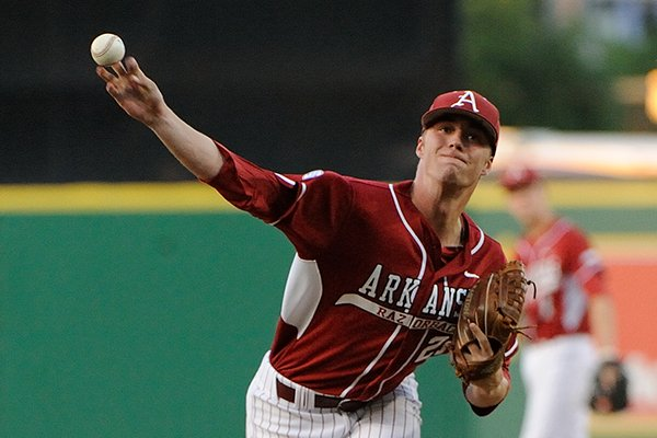 Arkansas pitcher Trey Killian delivers a pitch during a game against LSU on Friday, April 11, 2014 at Alex Box Stadium in Baton Rouge, La.