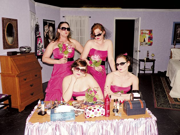 the-lantern-theatre-and-the-conway-community-arts-association-will-present-five-women-wearing-the-same-dress-at-730-pm-friday-and-saturday-and-again-april-25-and-26-and-at-230-pm-april-27-at-the-lantern-theatre-in-conway-cast-members-include-seated-from-left-jordan-daniels-as-meredith-and-heather-hooten-as-trisha-and-standing-ashley-carnahan-as-mindy-and-claire-wilkinson-as-georgeanne-not-shown-is-elizabeth-williams-who-plays-frances