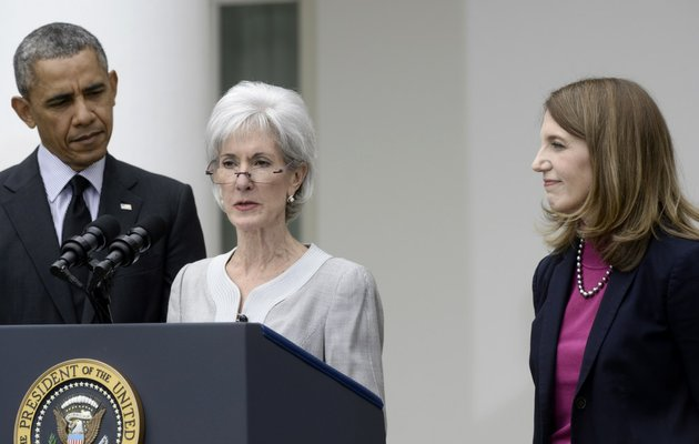 president-barack-obama-and-his-nominee-to-become-health-and-human-services-secretary-budget-director-sylvia-mathews-burwell-right-listen-as-outgoing-secretary-kathleen-sebelius-speaks-in-the-rose-garden-of-the-white-house-in-washington-on-friday-april-11-2014-where-the-president-made-the-announcement