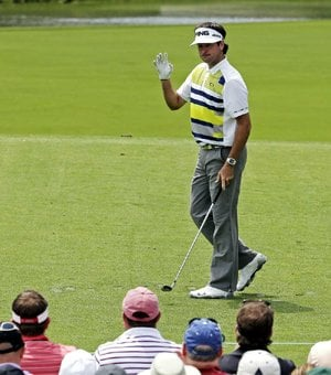 Bubba Watson shot a 4-under-par 68 Friday to take a three-stroke lead over John Senden after two rounds of the Masters in Augusta, Ga.
