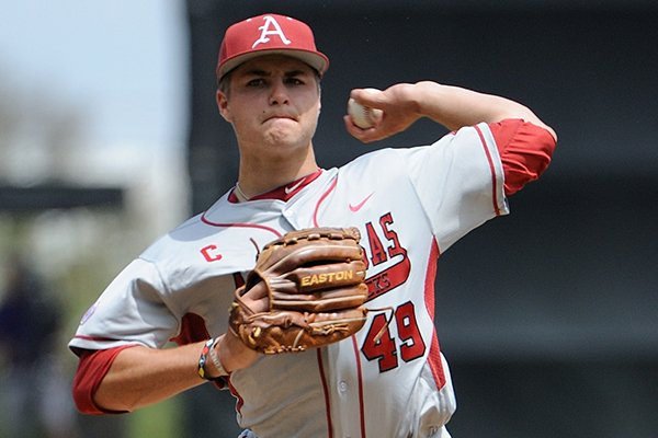 Jalen Beeks delivers a pitch during Arkansas' game against LSU on April 12, 2014 at Alex Box Stadium in Baton Rouge, La. LSU won 5-4.