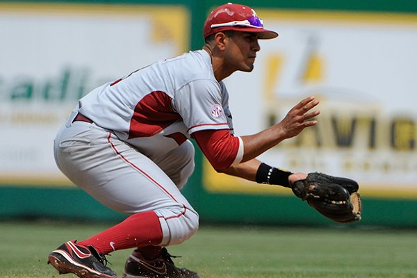 Michael Bernal fields a groundball during Arkansas' game against LSU on April 12, 2014 at Alex Box Stadium in Baton Rouge, La. LSU won 5-4.
