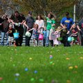 Participants run to pick up eggs during the Rogers Easter Egg Hunt, Saturday, April, 12, 2014, in Ve...