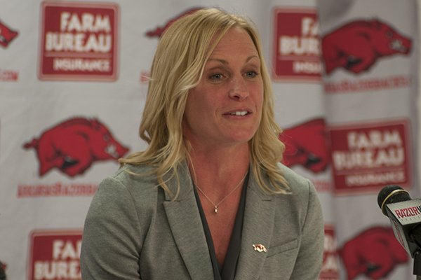 Arkansas women's basketball assistant coach Christy Smith speaks during a news conference Monday, April 14, 2014 at Bud Walton Arena in Fayetteville.