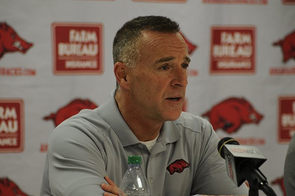 Arkansas women's basketball coach Jimmy Dykes speaks during a news conference Monday, April 14, 2014 at Bud Walton Arena in Fayetteville.