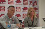Arkansas women's basketball coach Jimmy Dykes and assistant coach Christy Smith speak during a news conference Monday, April 14, 2014 at Bud Walton Arena in Fayetteville.