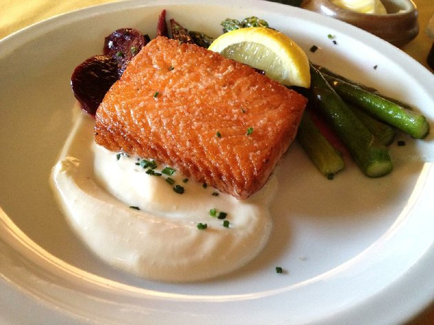 pan-seared-salmon-comes-with-creme-fraiche-beets-and-asparagus-at-terrys-finer-foods-the-restaurant-on-kavanaugh-boulevard-in-the-heights