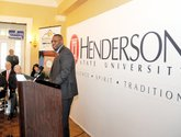 The Sentinel-Record/Mara Kuhn LANDMARK ANNOUNCEMENT: Henderson State University President Glen Jones speaks on Wednesday during an announcement of the new Downtown HSU/NPCC Education Center in the Landmark Building.