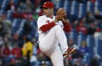 Philadelphia Phillies' Cliff Lee in action a baseball game against the Atlanta Braves, Wednesday, April 16, 2014, in Philadelphia. (AP Photo/Matt Slocum)
