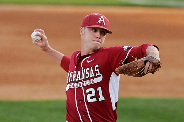 Arkansas pitcher Trey Killian delivers the ball during the game against Vanderbilt on Friday April 18, 2014 in Baum Stadium in Fayetteville.