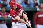 Arkansas' Joe Serrano hits a single during the game against Vanderbilt on Friday April 18, 2014 in Baum Stadium in Fayetteville.