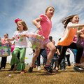 Children take off to start Cross Church's Easter Eggstravaganza on Saturday, April 19, 2014, on the ...