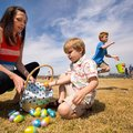 Shelli (cq) Bryant watches as her son Greyson (cq) Bryant, 4, both of Springdale, sorts eggs into hi...