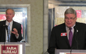 Republican gubernatorial candidates Asa Hutchinson, left, and Curtis Coleman speak Tuesday to Arkansas Farm Bureau members in these two photographs from a candidate forum.