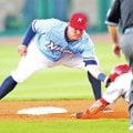 STAFF PHOTO JASON IVESTER Brian Bocock, Northwest Arkansas Naturals shortstop, tag Springfield's Lu...