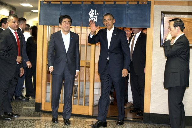 president-barack-obama-and-japanese-prime-minister-shinzo-abe-leave-after-having-dinner-at-sukiyabashi-jiro-sushi-restaurant-in-tokyo-on-wednesday-april-23-2014