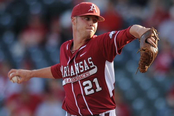 Arkansas starter Trey Killian delivers a pitch against Auburn during first the inning Friday, April 25, 2014, at Baum Stadium.