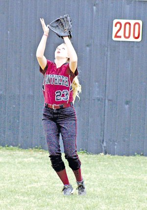 Staff Photo Randy Moll Haley Littlejohn, a Siloam Springs senior, has started in center field for the last three seasons for the Lady Panthers and is now being asked to play some infield positions.