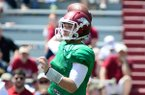 Arkansas' Austin Allen (8) throws the ball during their spring football game, Saturday, April 26, 2014, in Fayetteville, Ark. (AP Photo/Sarah Bentham)