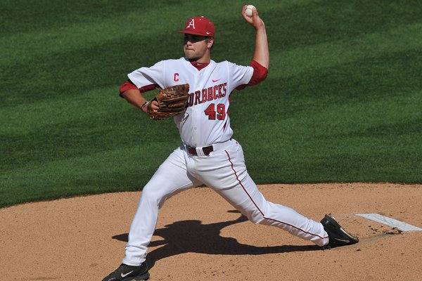 Arkansas pitcher Jalen Beeks fires a pitch in the 2nd inning of the first game of the doubleheader April 26, 2014, at Baum Stadium.