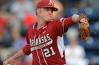 Arkansas' Trey Killian (21) pitches against Mississippi during an NCAA college baseball game in Oxford, Miss., Friday, May 2, 2014. (AP Photo/The Oxford Eagle, Bruce Newman)