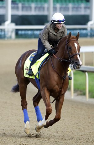 Exercise rider Dana Barnes takes Kentucky Derby entrant Chitu for a morning workout at Churchill Downs Thursday, May 1, 2014, in Louisville, Ky. (AP Photo/Morry Gash)