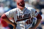 Arkansas pitcher Jalen Beeks (49) reacts to being pulled from the game afterthre and two-thirds innings with the Razorbacks trailing Mississippi 6-4 in an NCAA college baseball game at Oxford-University Stadium in Oxford, Miss., on Saturday, May 3, 2014. (AP Photo/Oxford Eagle, Bruce Newman)