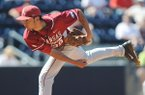 Arkansas pitcher Chris Oliver pitches against Mississippi at Oxford-University Stadium in Oxford, Miss. on Sunday, May 4, 2014. Arkansas won 11-1. (AP Photo/Oxford Eagle, Bruce Newman)