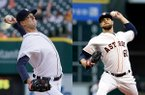 Former Arkansas pitchers Drew Smyly (left) of the Detroit Tigers and Dallas Keuchel of the Houston Astros are scheduled to start a game Thursday. (AP Photos by Carlos Osorio and Pat Sullivan)