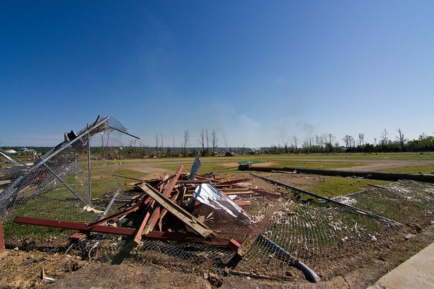 home-plate-is-covered-with-debris-at-a-baseball-field-in-vilonia-city-park-which-was-destroyed-by-a-tornado-on-april-27-the-park-was-previously-damaged-by-a-tornado-in-2011