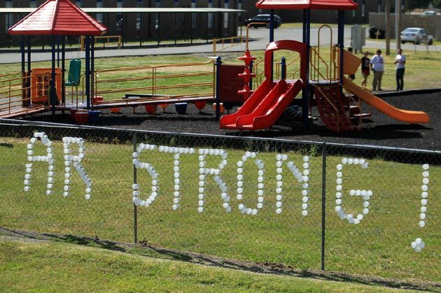 arkansas-democrat-gazettebenjamin-krain-5714-cups-stuck-in-a-fence-around-vilonia-elementary-school-playground-make-a-message-of-hope-for-the-city-of-vilonia-which-is-recovering-from-tornado-devastation