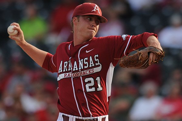Arkansas starter Trey Killian delivers a pitch against Texas A&M during the first inning Friday, May 9, 2014, at Baum Stadium in Fayetteville.