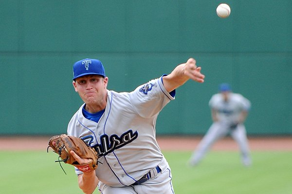 Former Arkansas pitcher Nick Schmidt opens for the Tulsa Drillers against the Northwest Arkansas Naturals at Arvest Ballpark in Springdale on Sunday, May 6, 2012.