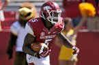 Arkansas wide receiver Eric Hawkins carries the ball in the first quarter of the game against Southern Miss on Saturday September 14, 2013 at Razorbacks Stadium in Fayetteville.