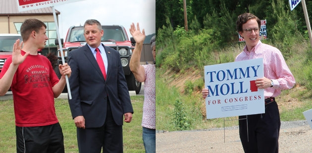 left-state-rep-bruce-westerman-talks-with-his-18-year-old-son-eli-before-voting-tuesday-in-hot-springs-right-tommy-moll-campaigns-tuesday-across-the-street-from-a-polling-site-at-red-oak-landmark-missionary-baptist-church-in-hot-springs