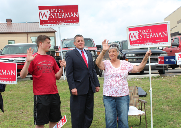 rep-bruce-westerman-campaigns-alongside-his-son-and-mother-tuesday-in-hot-springs