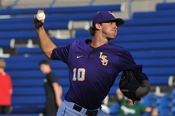 LSU pitcher Aaron Nola throws a pitch during a SEC Tournament game against Arkansas on Thursday, May 22, 2014 at Hoover Metropolitan Stadium in Hoover, Ala.