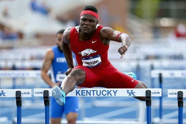 Arkansas hurdler Omar McLeod competes during the SEC Outdoor Championships on Saturday, May 17, 2014 in Lexington, Ky.