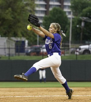 Photos by David J. Beach -Autumn Humes of Bald Knob pitches against Harding Academy during the 3A softball championship at Bogle Park at the University of Arkansas, Fayetteville, AR on May 23, 2014