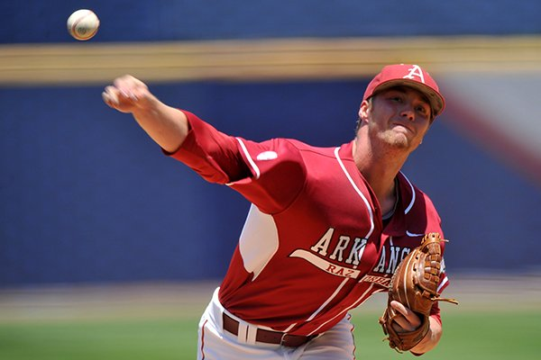 Arkansas pitcher Trey Killian delivers a pitch during a SEC Tournament game against Texas A&M on Tuesday, May 20, 2014 at Hoover Metropolitan Stadium in Hoover, Ala.