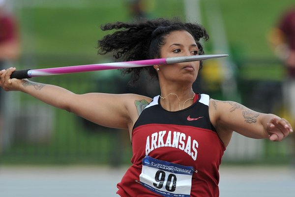 Arkansas' Amethyst Boyd throws the javelin during the NCAA West Preliminaries on Thursday, May 29, 2014 at John McDonnell Field in Fayetteville.
