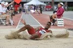 Arkansas jumper Jarrion Lawson competes during the NCAA West Preliminaries on Thursday, May 29, 2014 at John McDonnell Field in Fayetteville.